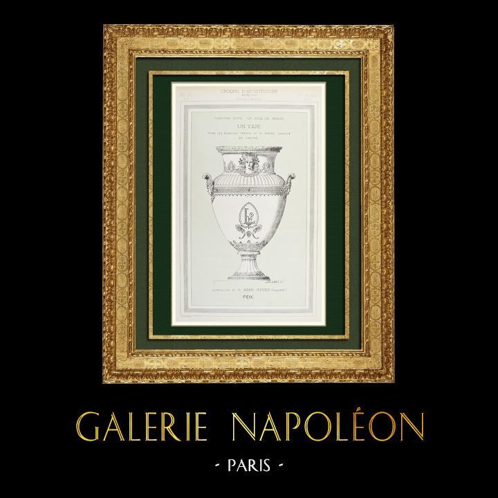 Gravures Anciennes & Dessins | Dessin d'Architecte - Vase pour la Grande Galerie du Louvre - Esquisse (Henri Mayeux) | Autogravure | 1875