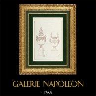 Desenho de Arquitecto - Vasos - Ópera Garnier - Palais Garnier - Projeto (Joseph Chéret)