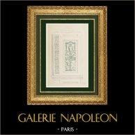 Dessin d'Architecte - Palais du Louvre - Galerie d'Apollon - Peinture des embrasures de fenêtre (Paris)