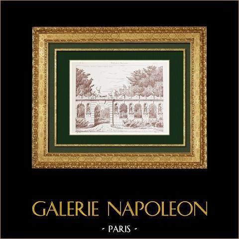 Ritning av Arkitekt - Slott i Raray - Oise - Balustrad - Portik (Frankrike) | Original autogravyr efter teckningar av Nizet. 1876