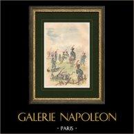 Campagne d'Allemagne - 1813 - Guerres Napoléoniennes - Artillerie à cheval de la Garde impériale | Gravure sur bois originale dessinée par Lucien Sergent, gravée par Gillot. 1888