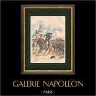 Bataillon Carré - 1792 - Táctica Militar - Traje Militar - Cuadro de infantería - Guardia Nacional  | Grabado xilográfico original dibujado por Lucien Sergent, grabado por Gillot. 1888