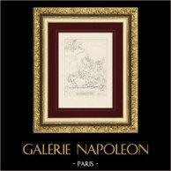 Divine Comédie - Dante - L'Enfer - Chapitre XXIV - Voleurs et Serpents | Gravure sur cuivre originale dessinée par Giacomelli, gravée par Giacomelli. 1813
