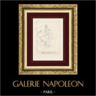 Divine Comédie - Dante - Le Paradis - Chapitre I - Beatrice et Dante admirent le Soleil   Gravure sur cuivre originale dessinée par Giacomelli, gravée par Giacomelli. 1813