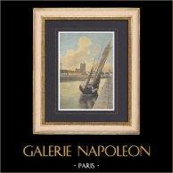 Hafen von Frankreich - Les Sables-d'Olonne - Fischerboot - Vendée | Original fotocrom gestochen von Gillot nach Demeule. 1890