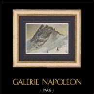 Alpes françaises - La Meije - Oisans - Massif des Écrins - Hautes-Alpes - Isère (France) | Gravure en photochromie originale gravée par Gillot d'après Henry Duc. 1890