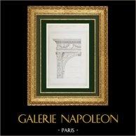 Dessin d'Architecte - Chartreuse de Pavie - Tombeau de Jean Galéas Visconti