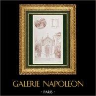 Disegno di Architetto - Cappella Funeraria - Cimitero Saint-Lazare a Montpellier - Hérault (França) | Auto-incisione originale disegnata da Goutes A., incisa da Goutes A.. 1870