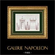 Disegno di Architetto - Cappella Funeraria - Cimitero Montparnasse - Parigi (Paul Wallon) | Auto-incisione originale disegnata da Wallon, incisa da De Korsak. 1878