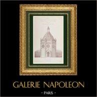 Dessin d'Architecte - Projet - Monument commémoratif - Catacombes - 14ème Arrondissement de Paris (Emile Vaudremer Architecte) | Autogravure originale gravée par Hacquart. 1870