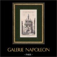 Porte du Palais - Porte Cailhau - Architecture Gothique - Monument Historique - Bordeaux (France) | Impression originale. Anonyme. 1893