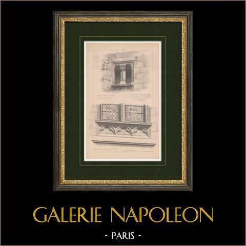 Paços do Concelho de Clermont - Oise - Restauração de Paul Selmersheim (França) | Estampa original. Anónima. 1892