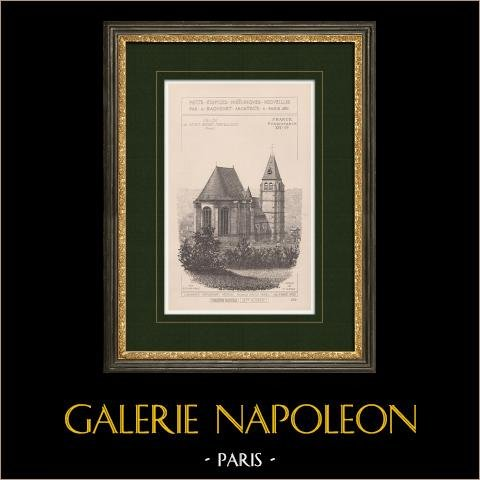 Kyrka i Saint-André-Farivillers - Oise (Frankrike) | Original grafik. Anonym. 1900