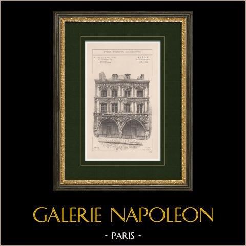 Maison du Sagittaire - Hus - Amiens - Somme (Frankrike) | Original grafik. Anonym. 1900