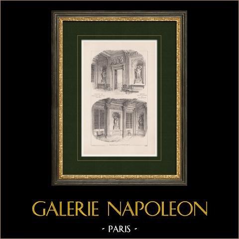 Château de Maisons-Laffitte - Yvelines - Ile de France (François Mansart)  | Impression originale d'après Martin-Sabon. 1900