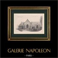 Capela Saint-Fiacre em Le Faouët - Morbihan (França) | Estampa original. Anónima. 1900