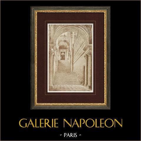 Tuilerien Palasts - Paris - Treppe (Zeichnung Eugène Viollet-le-Duc) | Original heliogravüre gezeichnet von Viollet-le-Duc. 1923