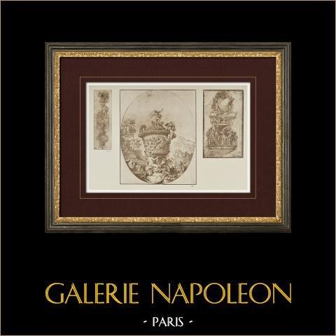 Decoração - Painel Século XVI - Vaso (Giovanni Pannini) - Varanda (Atribuído a Parmigianino) | Heliogravura original segundo Giovanni Pannini. 1923