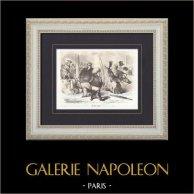 Caricature politique - Une Séance équestre | Gravure sur bois originale gravée par Gauchard. 1870
