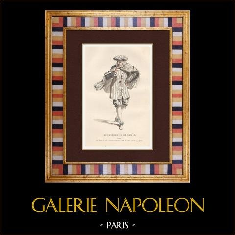Molière - Jean-Baptiste Poquelin - Les Fourberies de Scapin - Komedi - Scapin | Original stålstick. Anonym. Akvarell handkolorerad. 1863