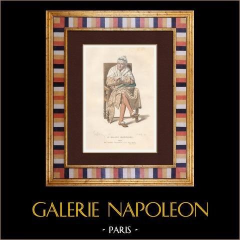 Molière - Jean-Baptiste Poquelin - Den inbillade sjuke - Komedi - Argan | Original stålstick efter teckningar av Geffroy, graverade av Wolff. Akvarell handkolorerad. 1863