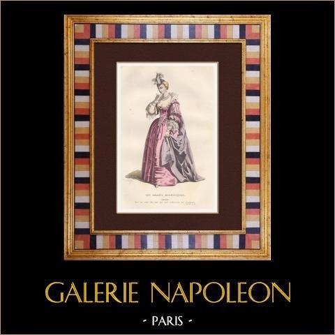 Molière - Jean-Baptiste Poquelin - Les amants magnifiques - Komedi - Eriphile | Original stålstick efter teckningar av Sand. Akvarell handkolorerad. 1863