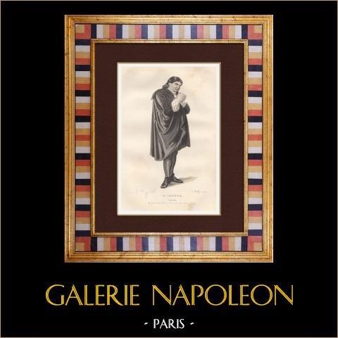 Molière - Jean-Baptiste Poquelin - Tartuffe - Komedi | Original stålstick efter teckningar av Geffroy, graverade av Wolff. Akvarell handkolorerad. 1863
