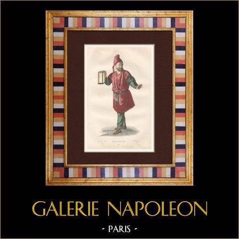 Molière - Jean-Baptiste Poquelin - Amphitryon - Komedi - Sosie | Original stålstick efter teckningar av Geffroy, graverade av Wolff. Akvarell handkolorerad. 1863