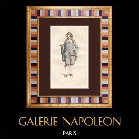 Molière - Jean-Baptiste Poquelin - George Dandin - Komedi - Lubin | Original stålstick. Anonym. Akvarell handkolorerad. 1863