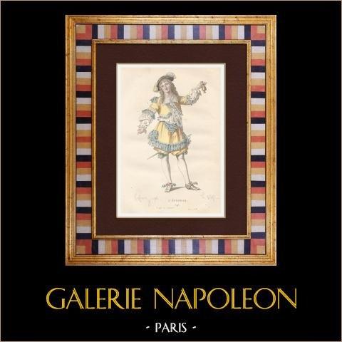 Molière - Jean-Baptiste Poquelin - L'étourdi - Komedi - Lélie | Original stålstick efter teckningar av Geffroy, graverade av Wolff. Akvarell handkolorerad. 1863