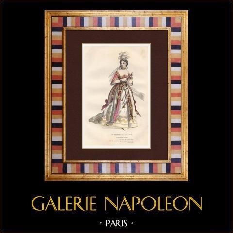 Molière - Jean-Baptiste Poquelin - Prinsessa Elid - Komedi - Prinsessa | Original stålstick. Anonym. Akvarell handkolorerad. 1863