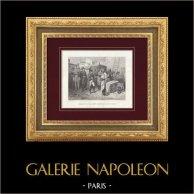 Napoleão Bonaparte e o Guarda Imperial em Ilha de Elba | Gravura original em talho-doce sobre aço desenhada por Bellange, gravada por Rose. 1845