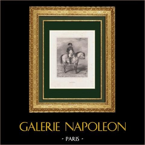 Porträtt till Häst av Napoleon (Horace Vernet) | Original etsning efter Horace Vernet. 1840