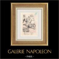 Gravure érotique - Gargantua et Pantagruel - Rabelais - Carême | Photogravure originale dessinée par Louis Icart. 1936