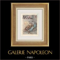 Gravure érotique - Gargantua et Pantagruel - Rabelais - Moine