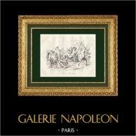 Mitologia - Bacco - Baccanale | Stampa calcografica originale a bulino su acciaio disegnata da De Paris, incisa da Giroux. 1838