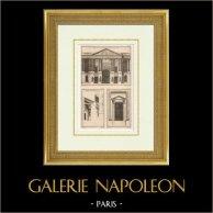 Arquitectura - Decoración - Palacio del Louvre - Peristilo (Paris) | Heliotipia original según un grabado dibujado por Ransonnette - Le Roy, grabado por Ransonnette - Le Roy. 1920