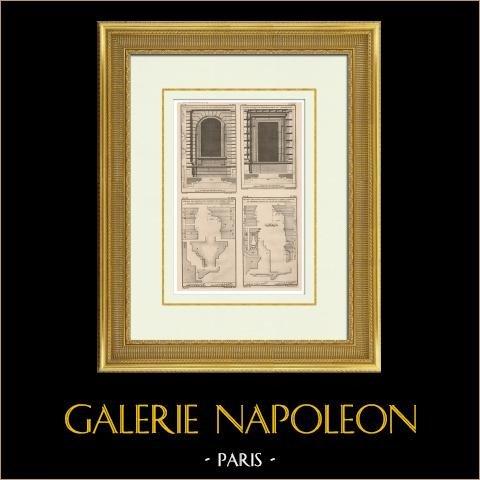Palais du Luxembourg - Fenster (Paris) | Original heliotypie-druck nach einem Druck gezeichnet von Bouvet, gestochen von Ransonnette. 1920