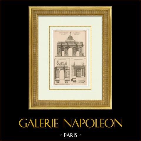 Triumphal arch - Place du Trône - Claude Perrault - Hôtel de Soubise - Hôtel de Toulouse - Paris (France) | Original heliotypie after an engraving drawn by Huvé - Boutrois - Legrand, engraved by De la Gardette - Cauchois - Michelinot. 1920