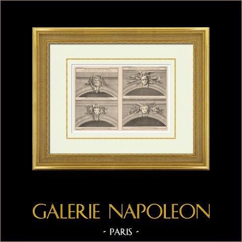 Arquitetura - Claveau - Mascaron - Cabeças | Heliotipia original. Anónima. 1920