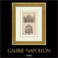 Architecture - Décoration - Fronton - Attique - Cartouche   Héliotypie originale d'après une gravure dessinée par Babel, gravée par Charpentier. 1920
