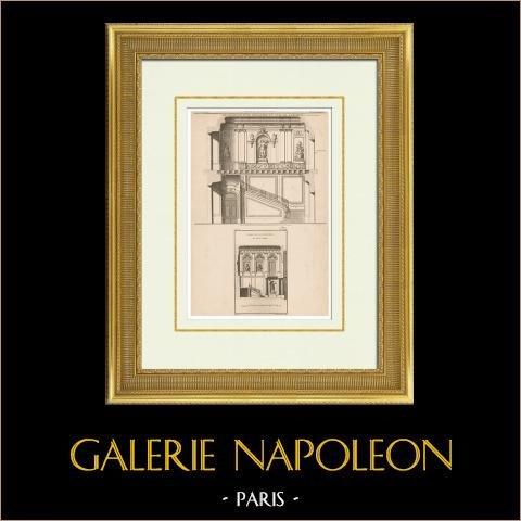 Architektur - Dekoration einer Treppe | Original heliotypie-druck nach einem Druck gestochen von De la Gardette. 1920
