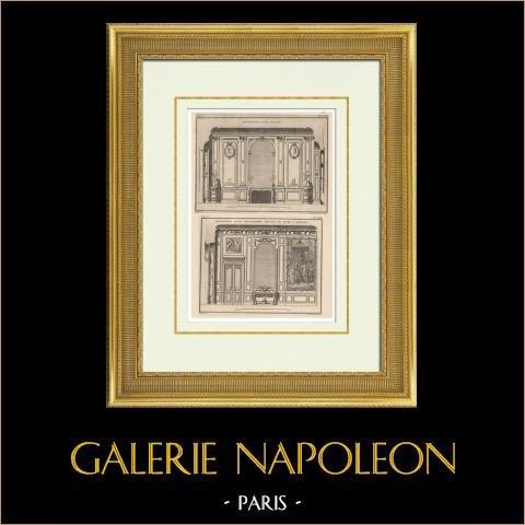 Architecture - Décoration d'un Salon et d'une Antichambre | Héliotypie originale d'après une gravure dessinée par Patte, gravée par De la Gardette. 1920