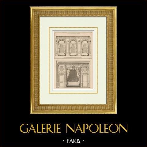 Architecture - Decoration - Salle - Bedroom in Hôtel des deux-Ponts - Paris | Original heliotypie after an engraving drawn by Patte, engraved by Ransonnette. 1920