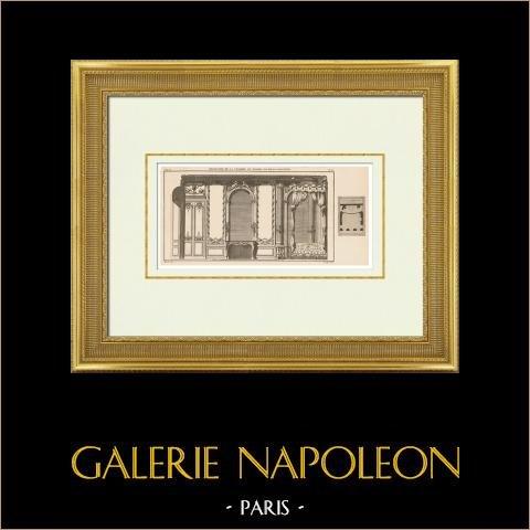 Architecture - Decoration - Palais-Royal - Palais-Cardinal - Chambre de parade - 1st Arrondissement of Paris | Original heliotypie after an engraving drawn by Blondel, engraved by Le Roy. 1920