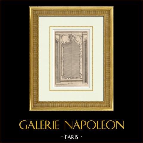 Architecture - Décoration - Miroir | Héliotypie originale d'après une gravure dessinée par Jean Mansart l'ainé, gravée par Charpentier. 1920