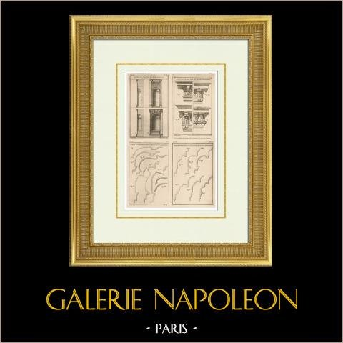 Architecture - Decoration - Niche - Cornice - Castle of Maisons-Laffitte - Clagny | Original heliotypie after an engraving drawn by Patte, engraved by Ransonnette. 1920