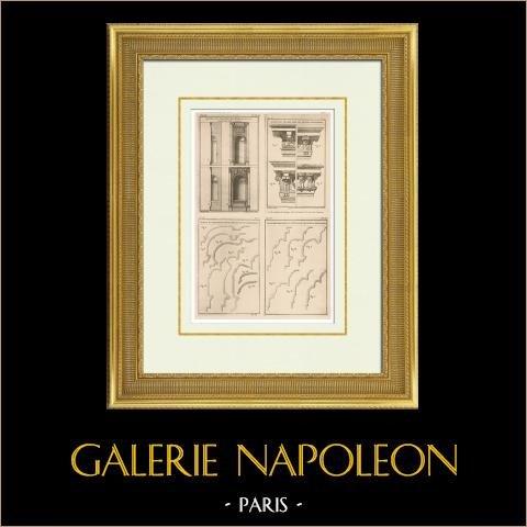 Arkitektur - Dekoration - Nisch - Kornisch - Gesims - Slott i Maisons-Laffitte - Clagny | Original ljustryck efter ett tryck efter teckningar av Patte, graverade av Ransonnette. 1920