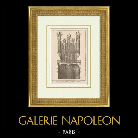 Muebles Litúrgicos - Órgano - Iglesia Saint-Séverin - V Distrito de París | Heliotipia original según un grabado grabado por Charpentier. 1920