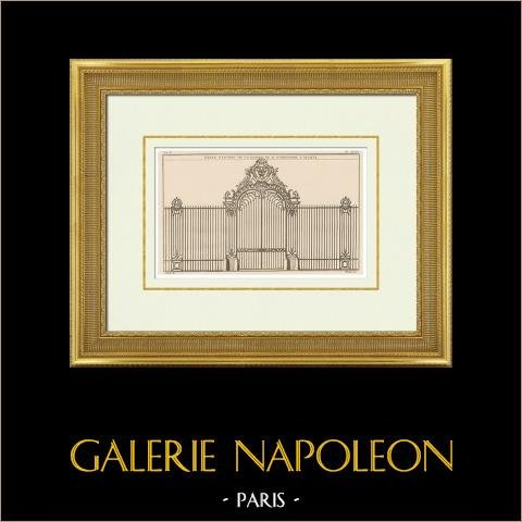 Ferraria - Portão de ferro forjado - Casa de M. d'Argenson em Neuilly-sur-Seine - Ilha de França | Heliotipia original segundo uma gravura desenhada por Blondel segundo Franque. 1920